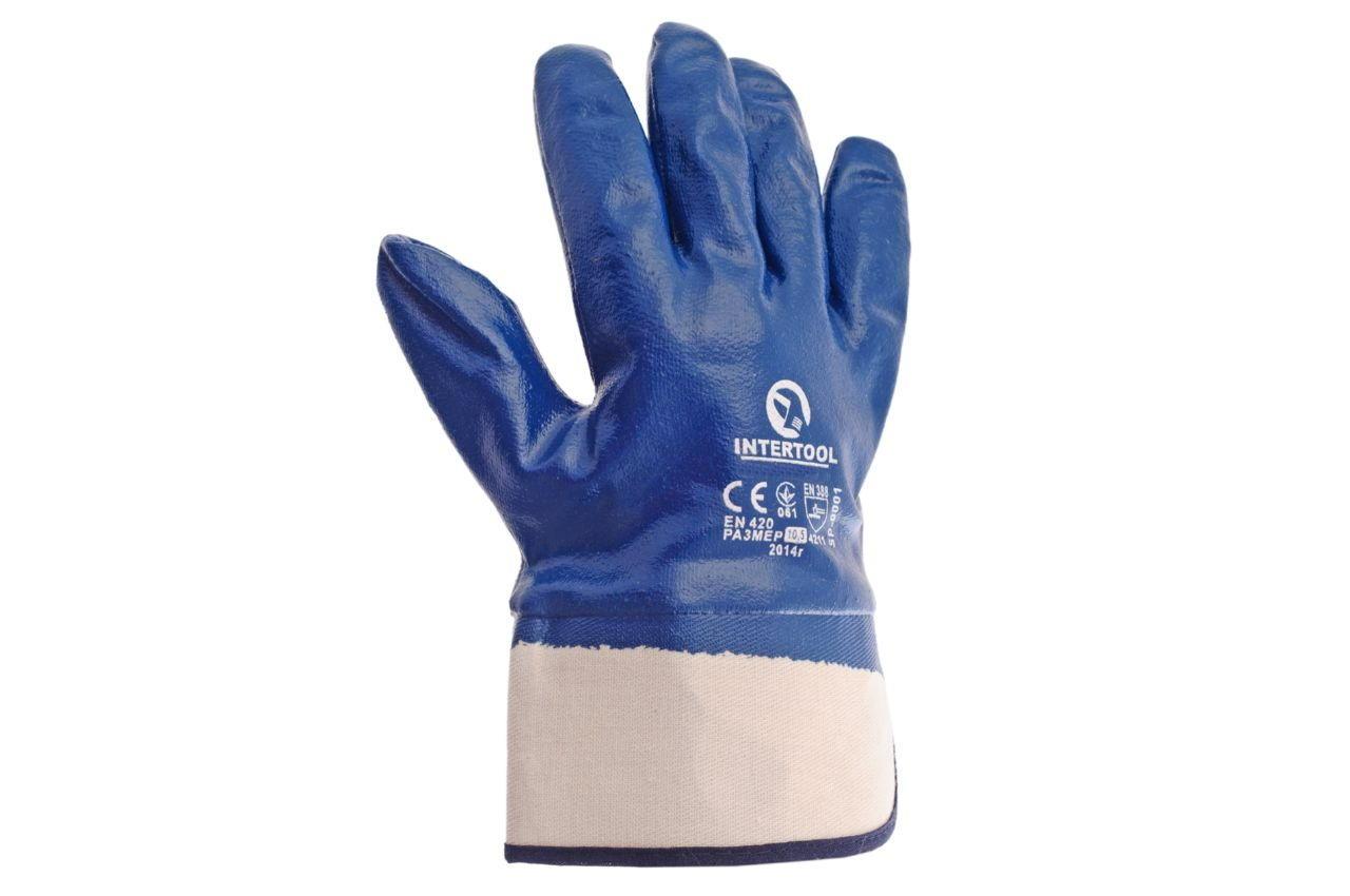 """Перчатки Intertool - масло-бензостойкие с твердым манжетом 10,5"""" 6 шт."""