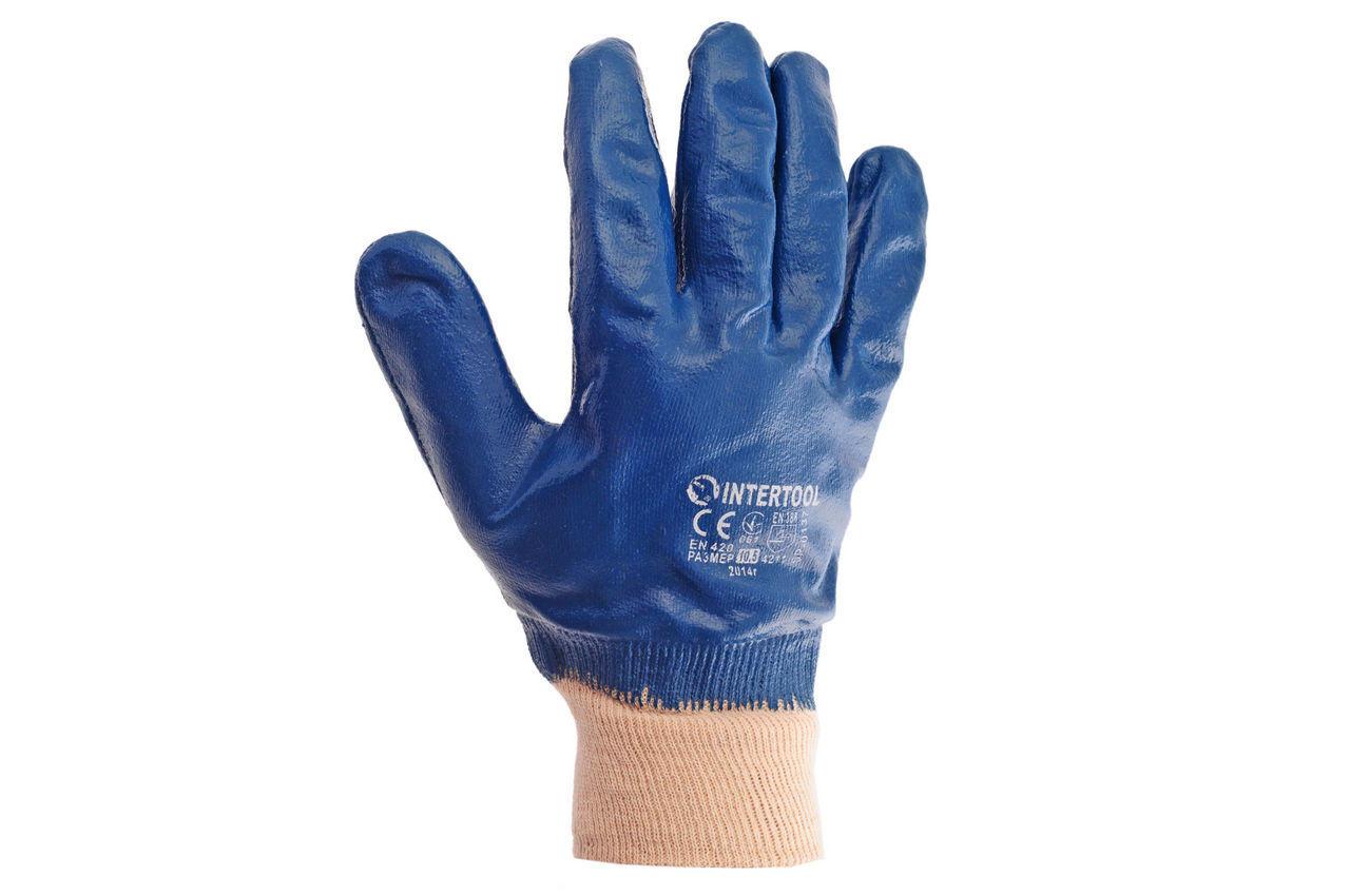 """Перчатки Intertool - масло-бензостойкие с мягким манжетом 10,5""""        6шт 6 шт."""