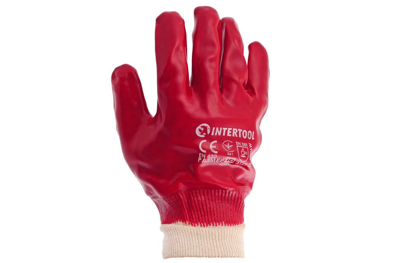 """Перчатки Intertool - маслостойкая 26 см х 10,5"""" (красная) 6 шт."""