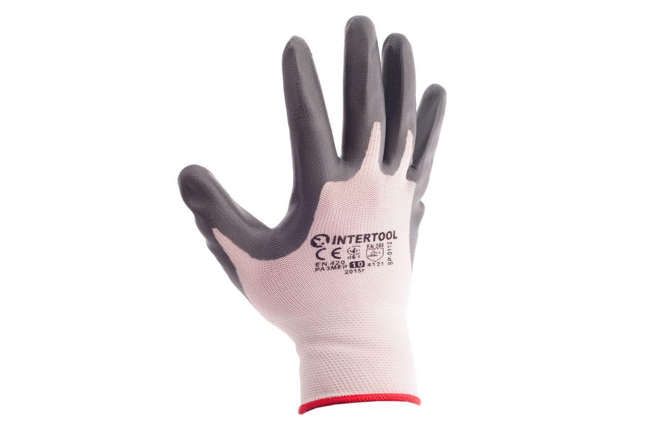"""Перчатки Intertool - с нитриловым покрытием 10"""" (бело-серая) 12 шт."""