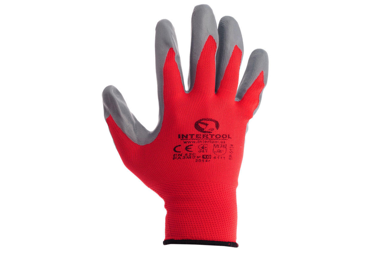 """Перчатки Intertool - с нитриловым покрытием 10"""" (красно-серая) 12 шт."""