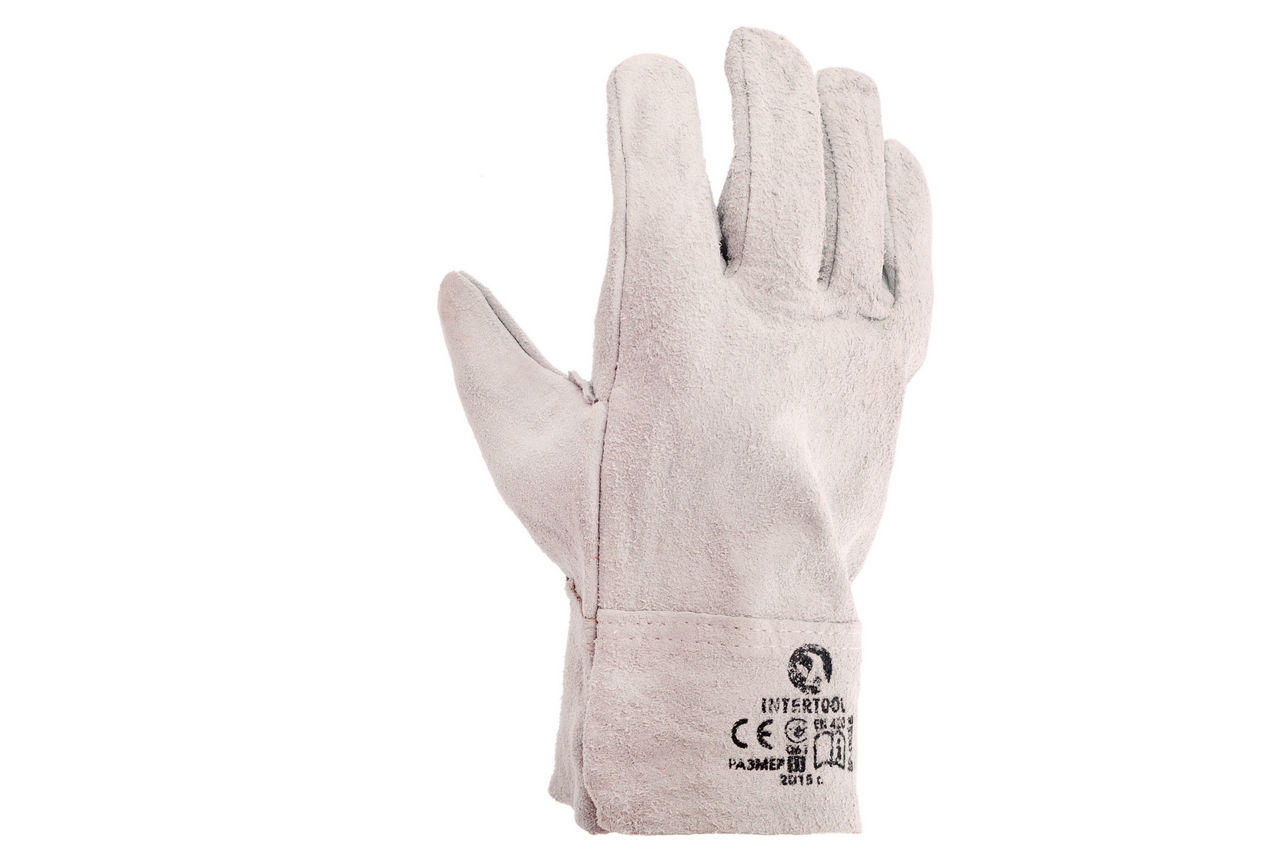 """Перчатки Intertool - замшевые краги 27 см х 10,5"""" (серые) 3 шт."""