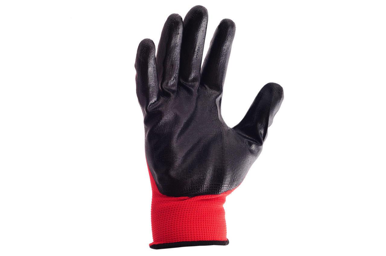 """Перчатки Mastertool - с нитриловым покрытием 10"""" (красно-черные) 12 шт."""