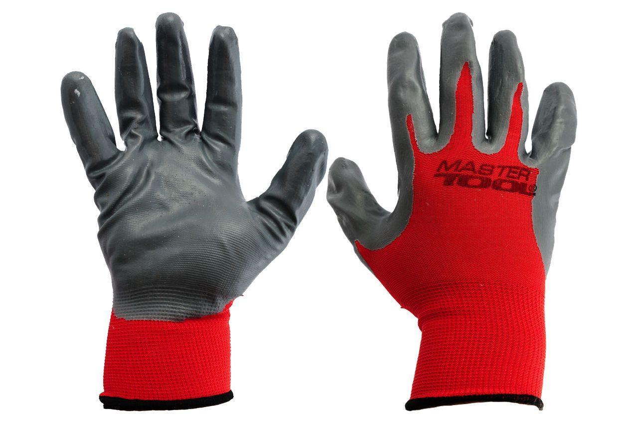 """Перчатки Mastertool - с нитриловым покрытием 10"""" (красно-серые) 12 шт."""