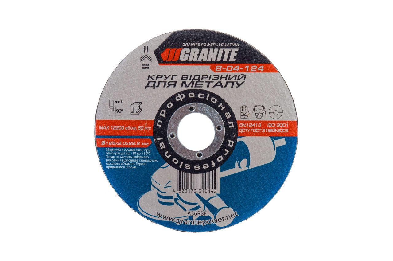 Круг отрезной по металлу Granite - 125 х 2,0 х 22,2 мм, 8-04-124