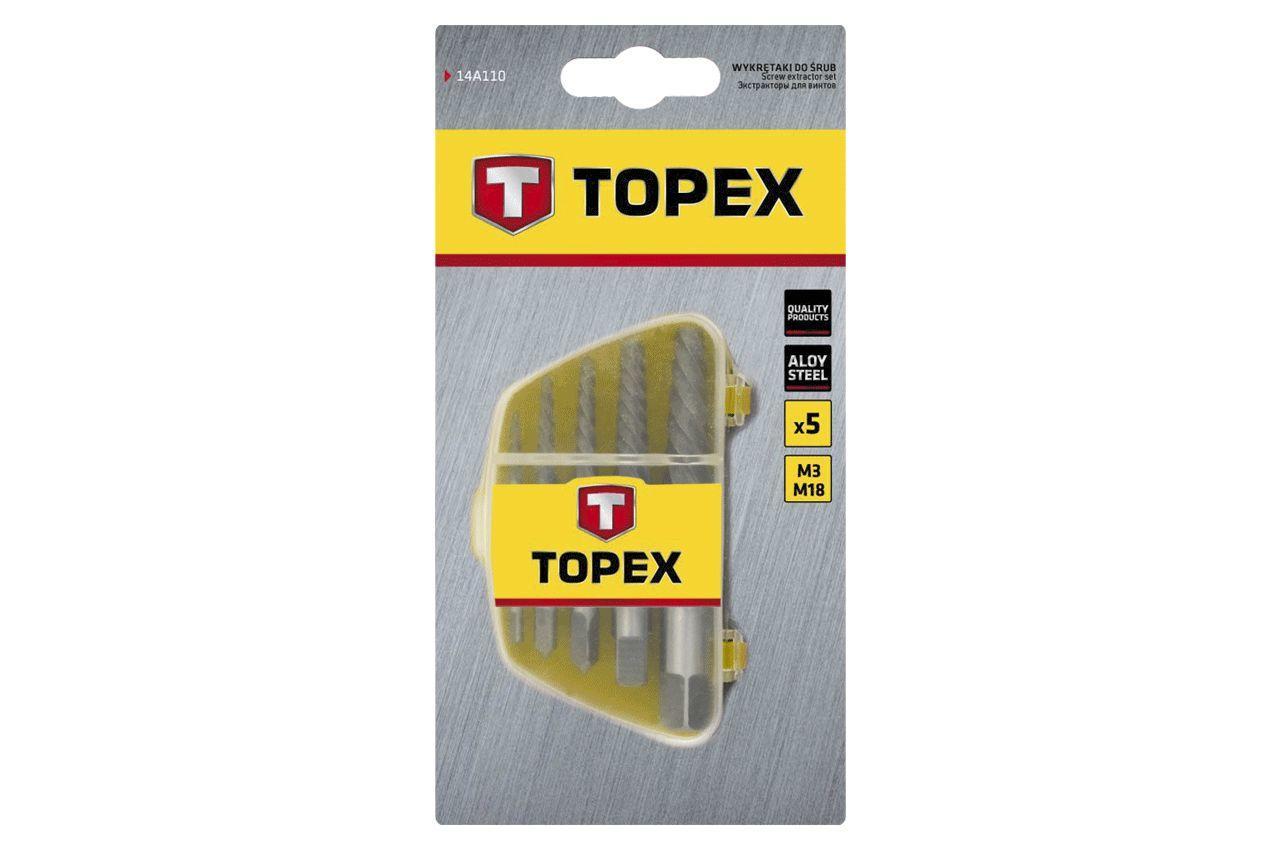 Набор экстракторов для винтов Topex - 5 шт. (3,3-19 мм)