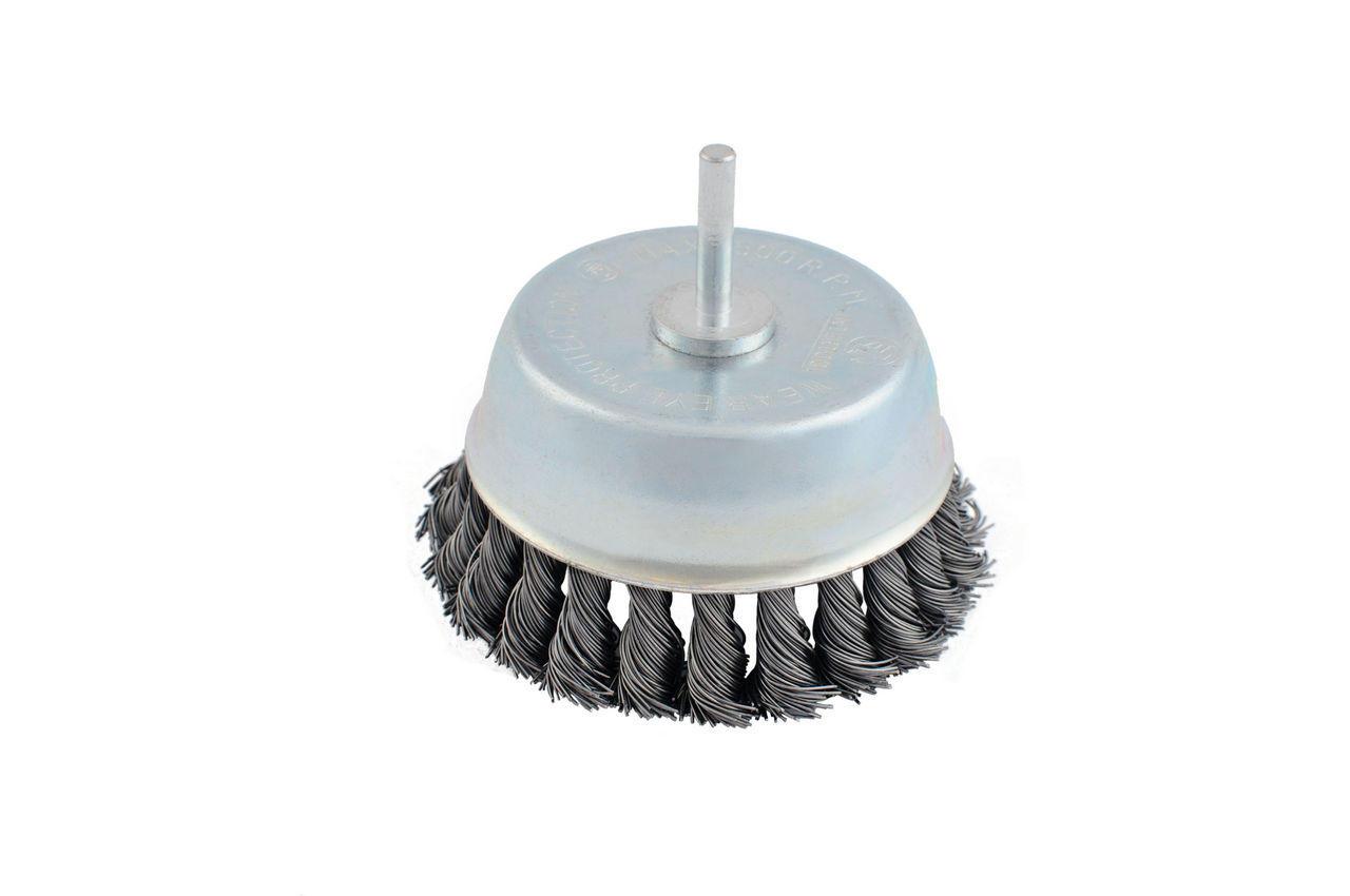Щетка торцевая Intertool - 100 мм, плетеная, стержень 6 мм, BT-3100