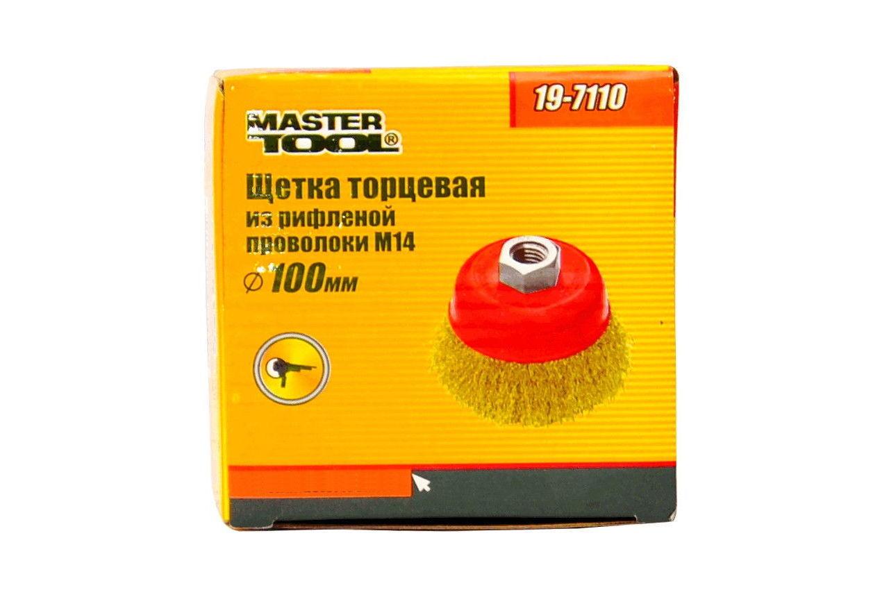 Щетка торцевая Mastertool - 100 мм, рифленая