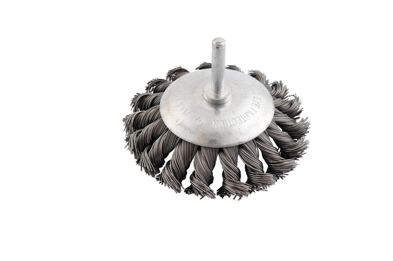 Щетка конусная на дрель Mastertool - 75 мм, плетеная, стержень 6 мм