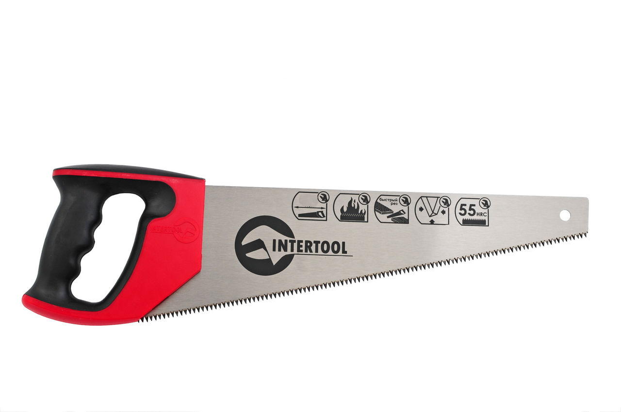 Ножовка по дереву Intertool - 400 мм, тройная заточка 7T х 1
