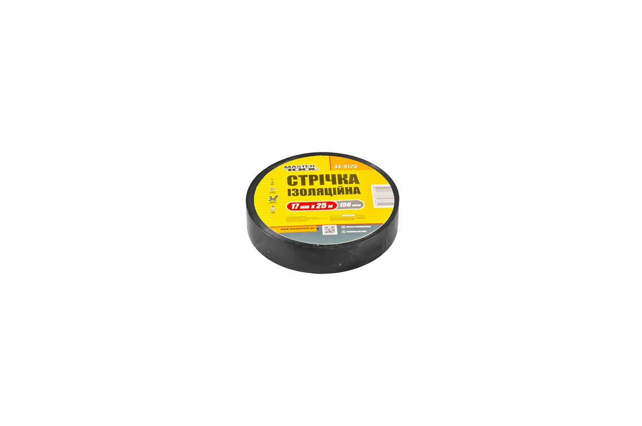 Лента изоляционная Mastertool - 25 м, черная, 44-9125