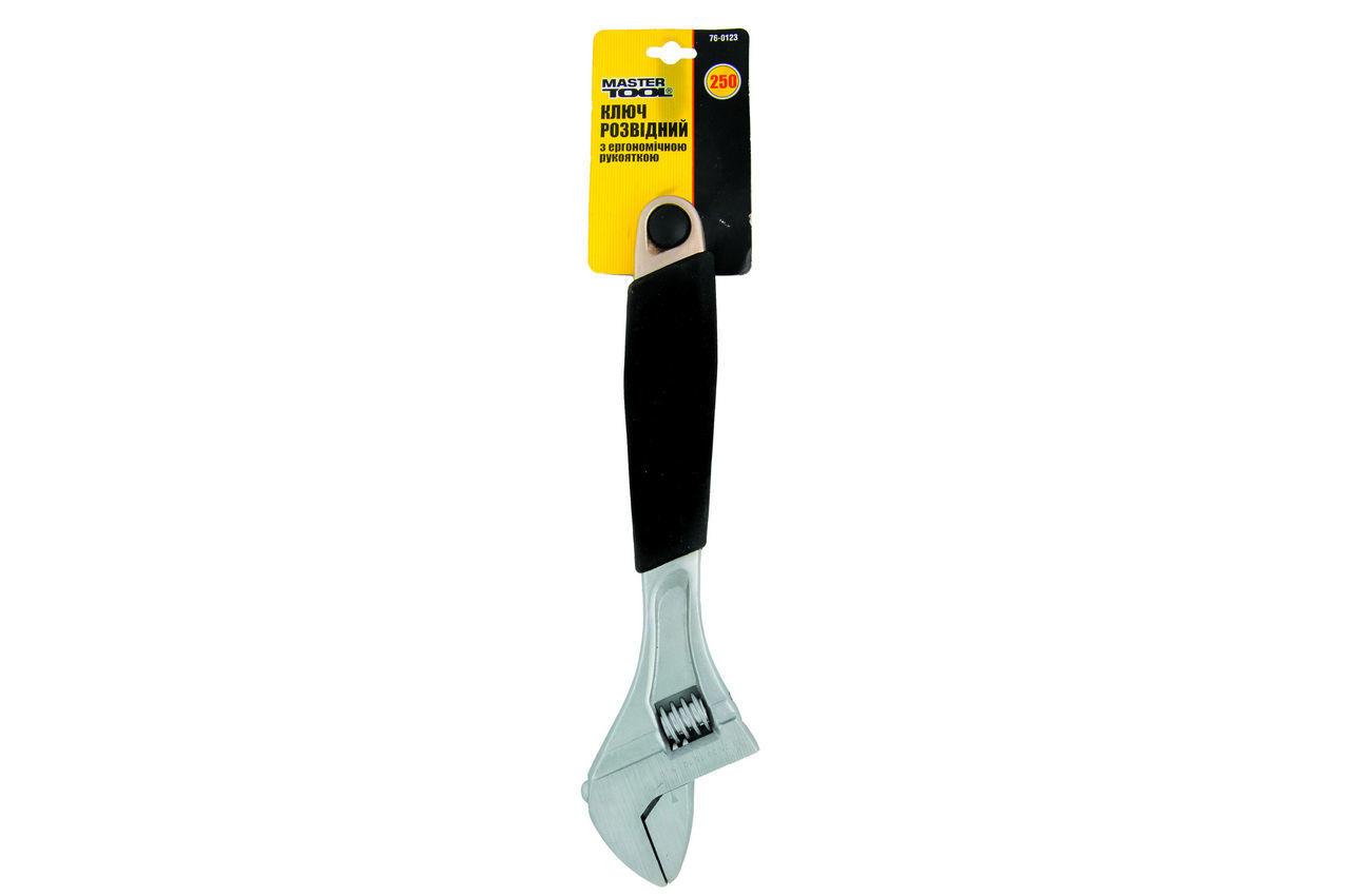 Ключ разводной Mastertool - 250 мм (0-30 мм), с обрезининной ручкой