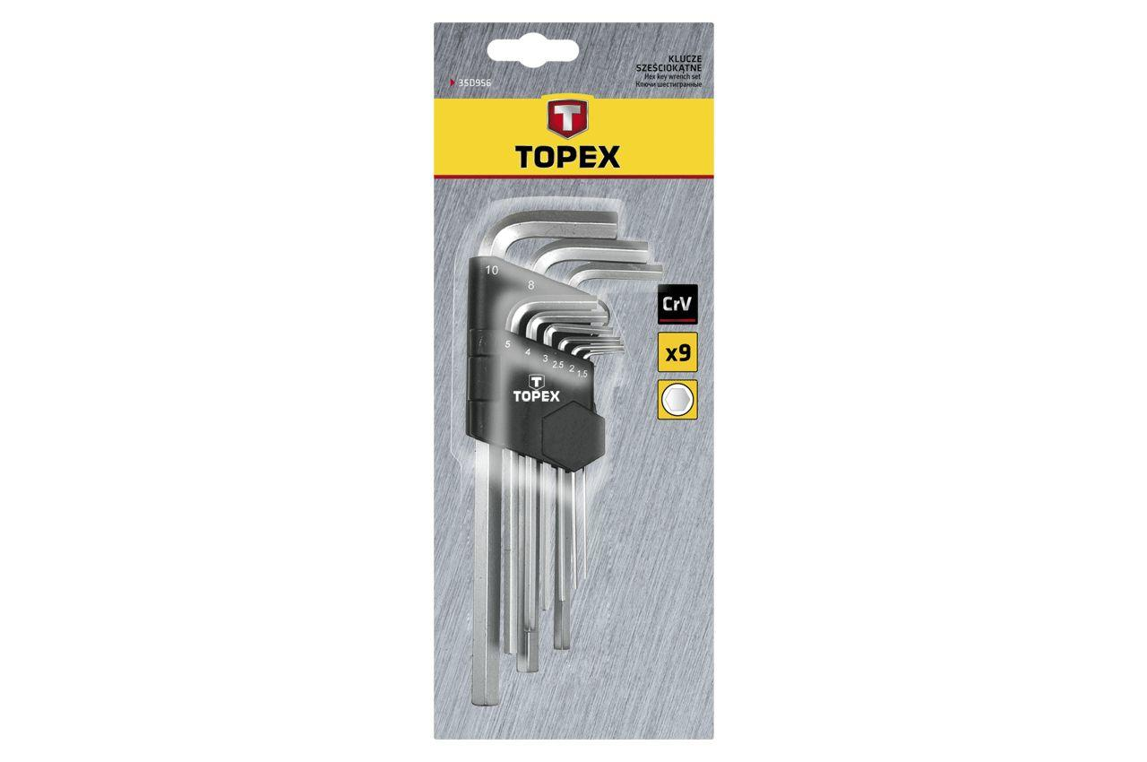 Набор шестигранных ключей Topex - 9 шт., удлиненные
