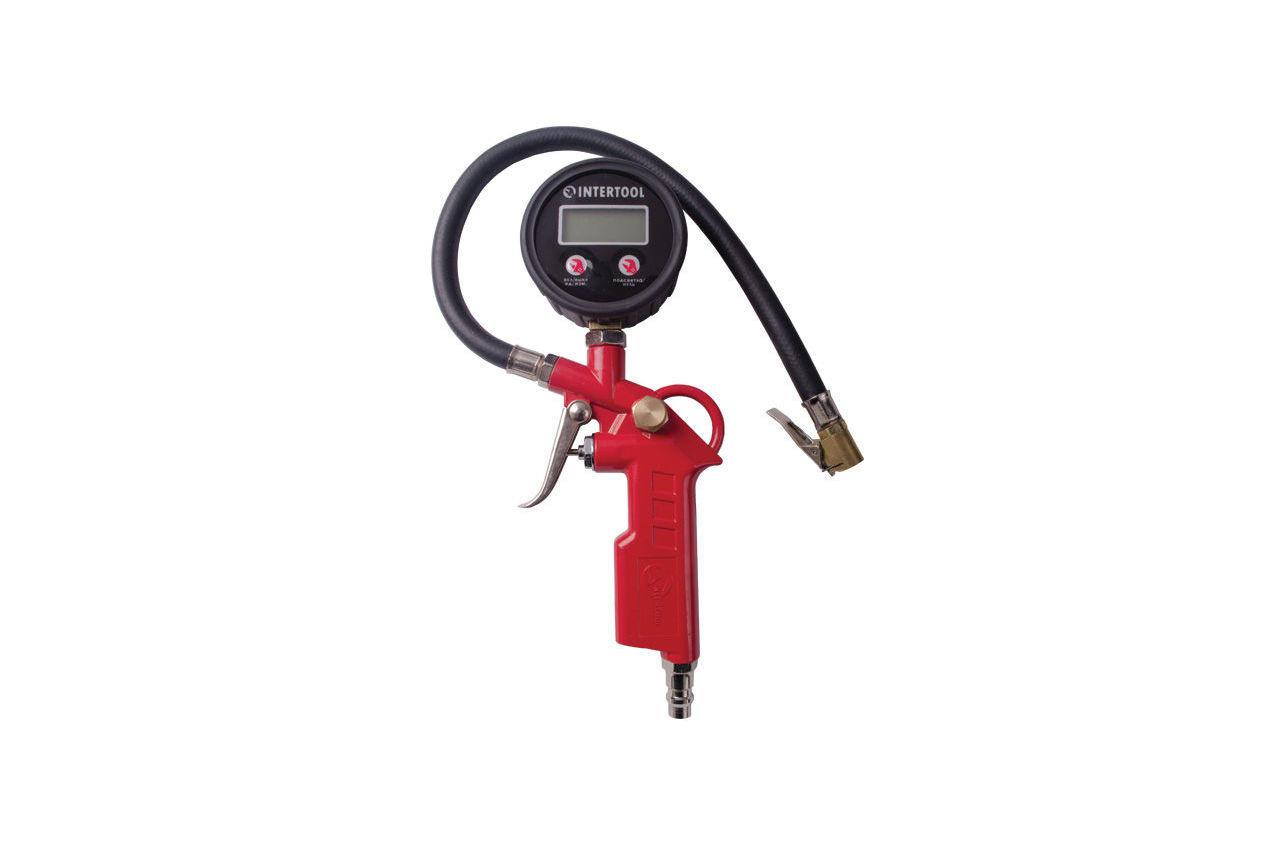 Пневмопистолет для подкачки колес Intertool - 10 bar, с цифровым манометром
