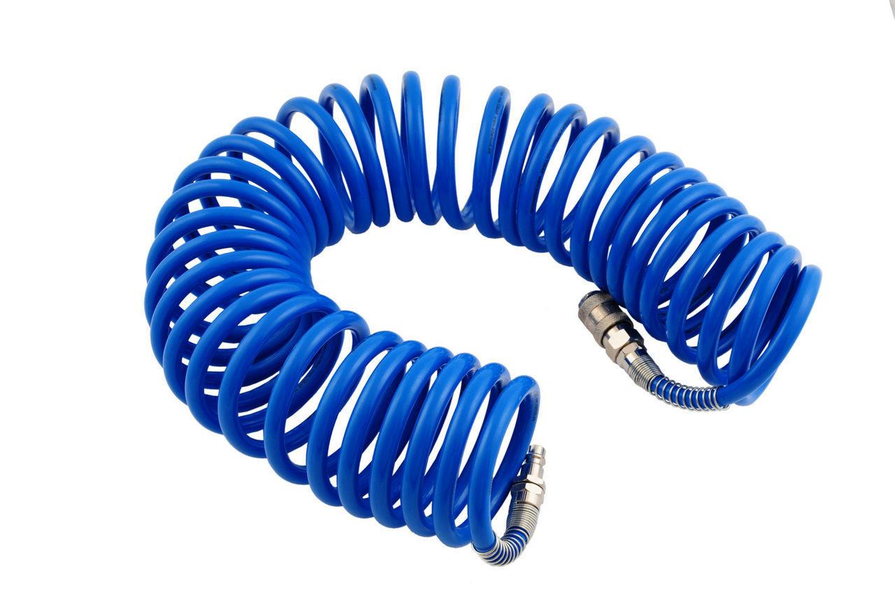 Шланг спиральный Intertool - 15 м, 6,5 х 10 мм, полиуретановый
