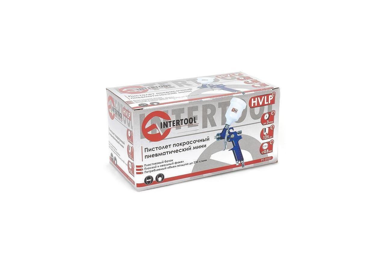 Пневмопистолет лакокрасочный Intertool - верхний бак 125 мл, d=0,8 мм