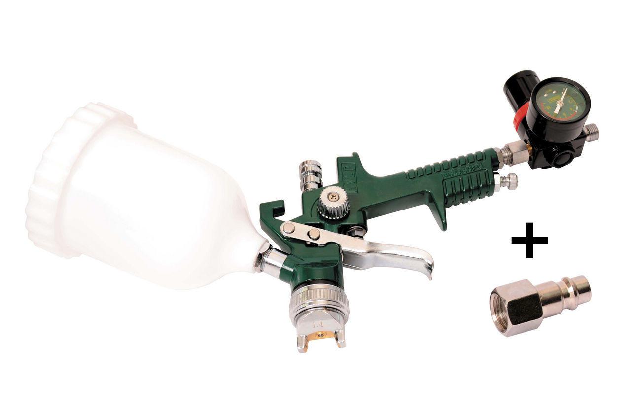 Пневмопистолет лакокрасочный Mastertool - верхний бак 600 мл, d=1,4 мм, с редуктором