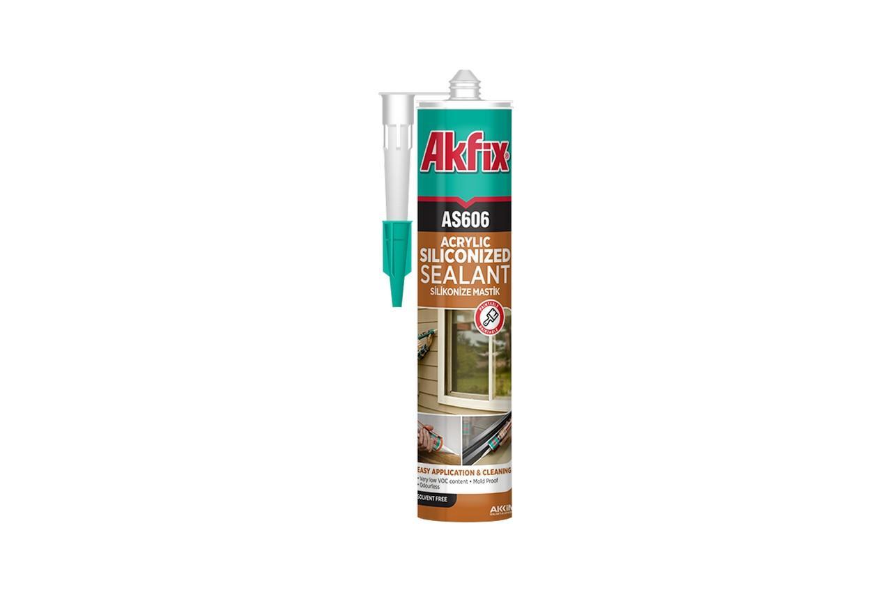 Герметик акрил-силиконовый Akfix - 310 мл, белый (AS606)