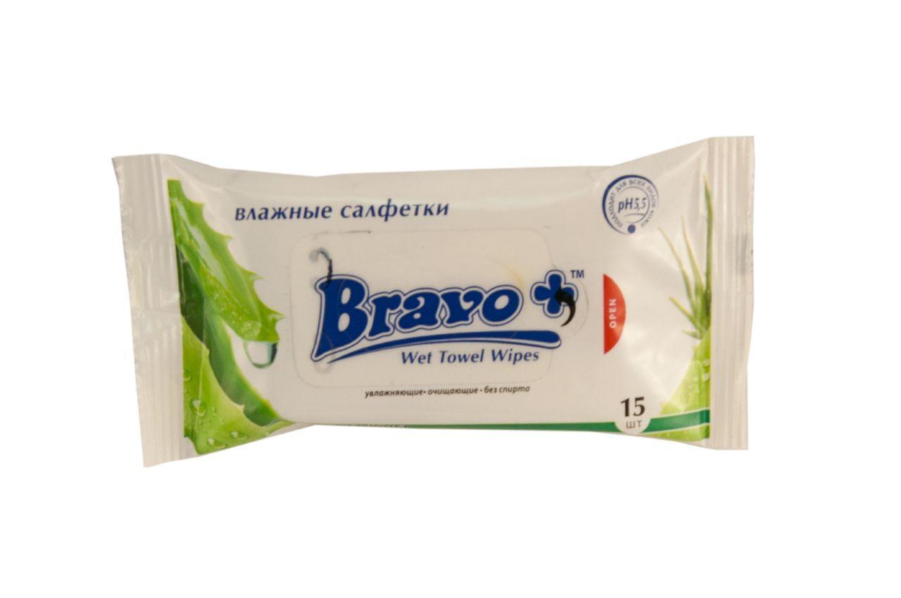 Салфетки влажные Bravo - алое вера (15 шт.) 10 шт.