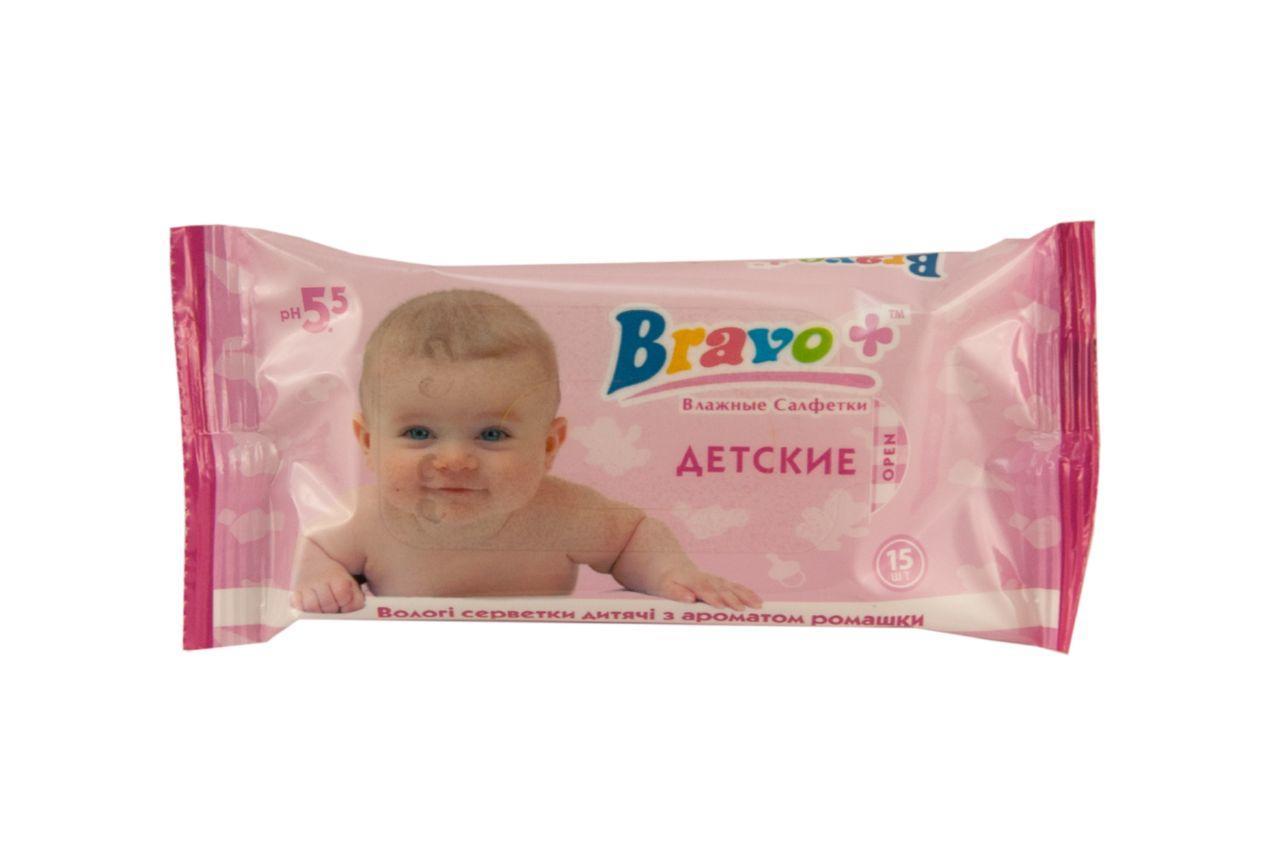 Салфетки влажные Bravo - детская ромашка (15 шт.)
