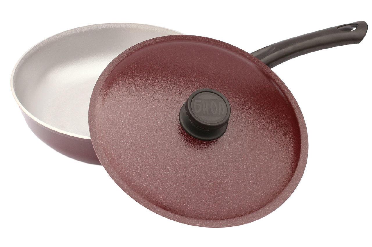Сковорода алюминиевая Биол - 200 х 40 мм бордо, с крышкой