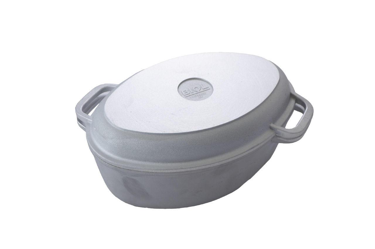 Гусятница алюминиевая Биол - 2,5 л, с утолщенным дном и крышкой-грилем, Г301