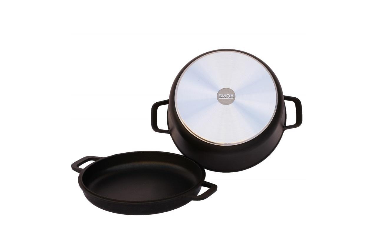 Кастрюля антипригарная Биол - 220 х 146 мм х 3 л, с крышкой-сковородкой