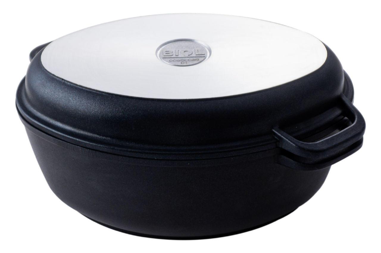 Гусятница антипригарная Биол - 2,5 л, с крышкой-сковородкой, Г301П