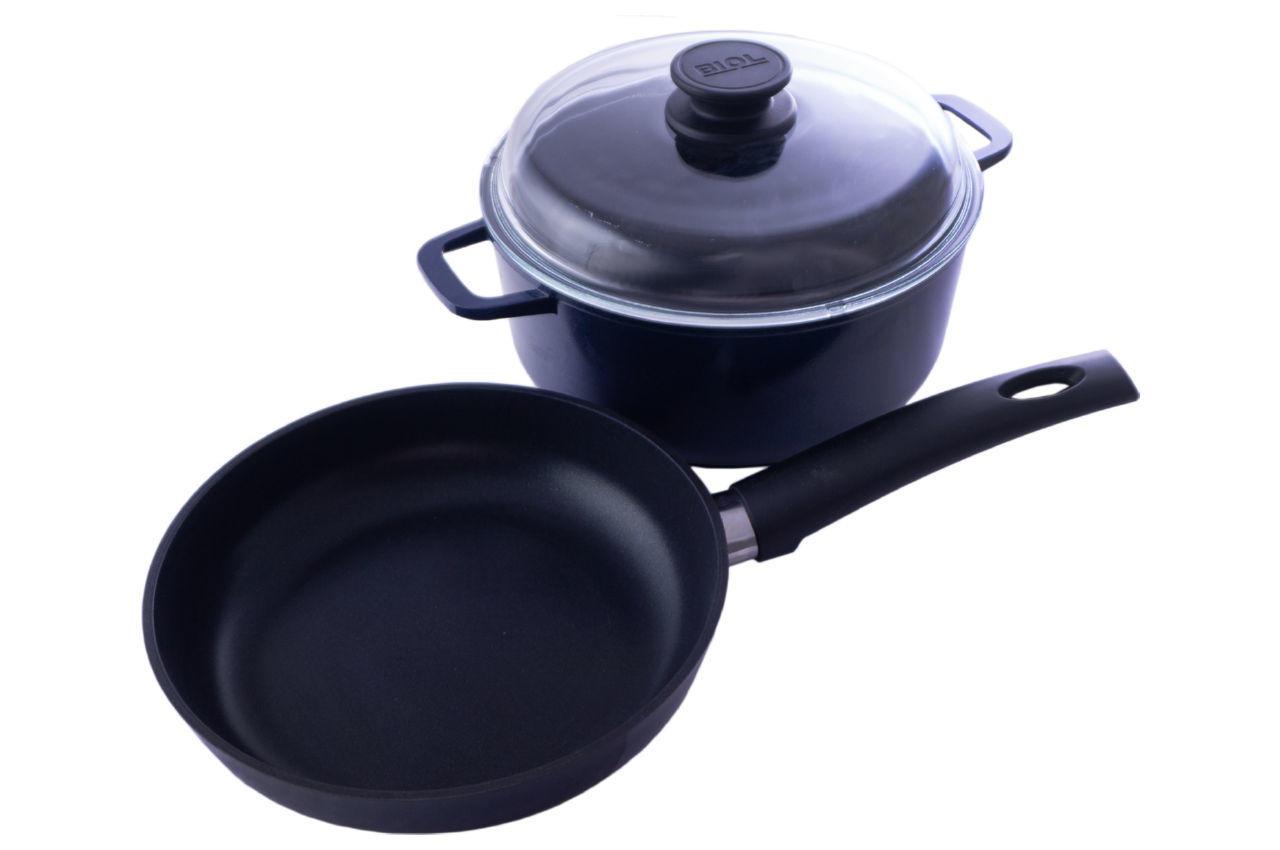 """Набор посуды антипригарный Биол - сковорода 220 мм + кастрюля 3 л """"индиго"""", I22PC"""