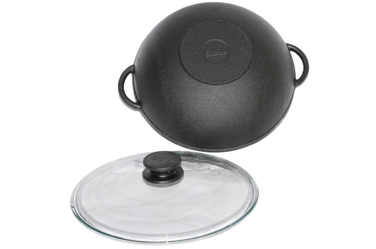 Сковорода чугунная Биол - 260 х 150 мм х 3 л wok с крышкой