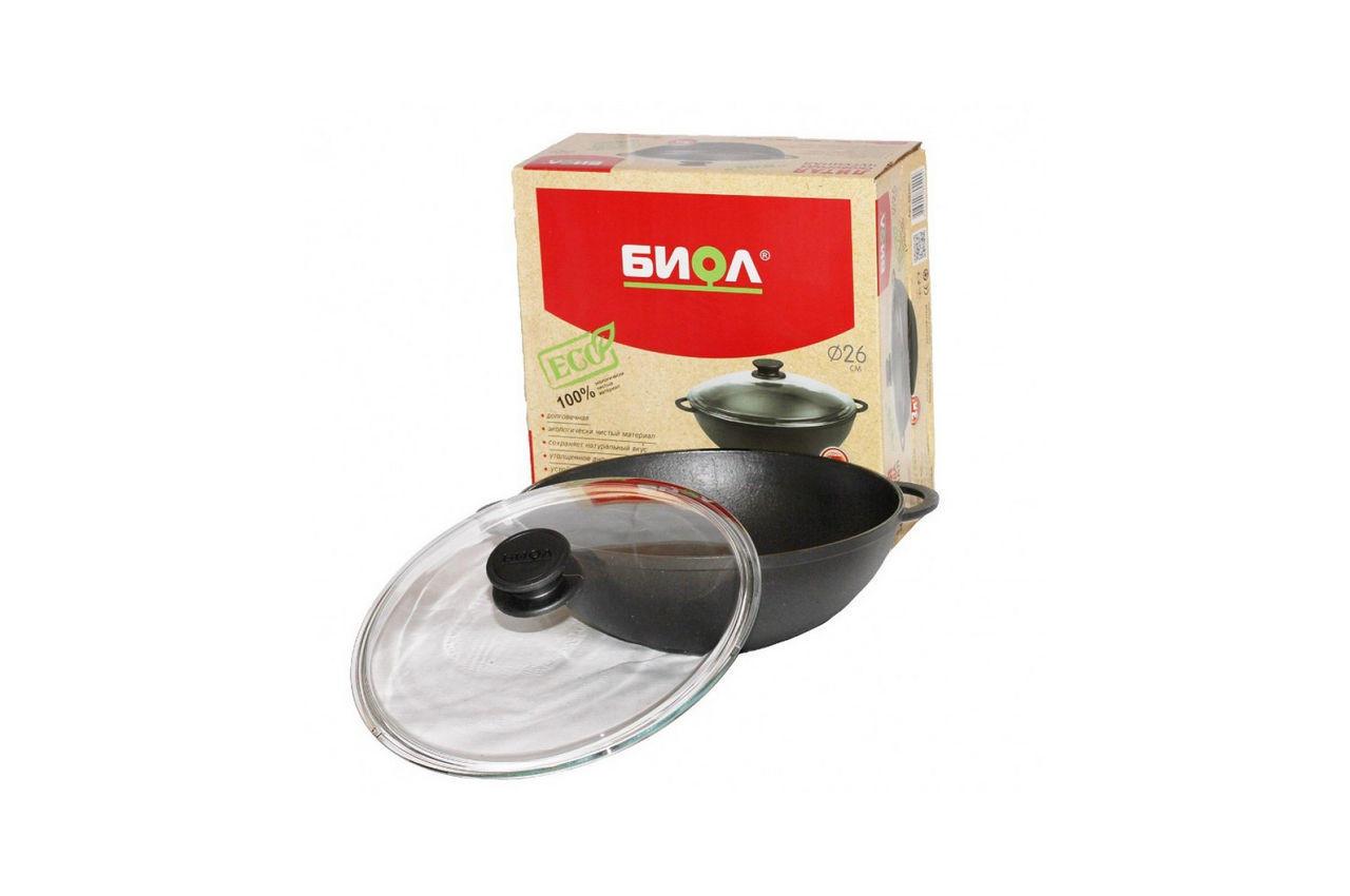 Сковорода чугунная Биол - 280 х 160 мм х 4 л wok с крышкой