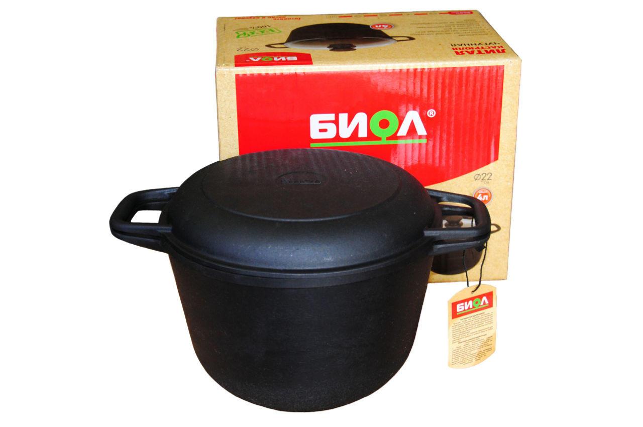Кастрюля чугунная Биол - 200 х 135 мм х 3 л, с крышкой-сковородкой