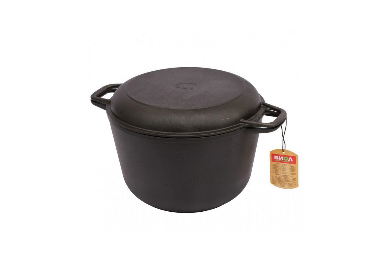 Кастрюля чугунная Биол - 260 х 160 мм х 6 л, с крышкой-сковородкой