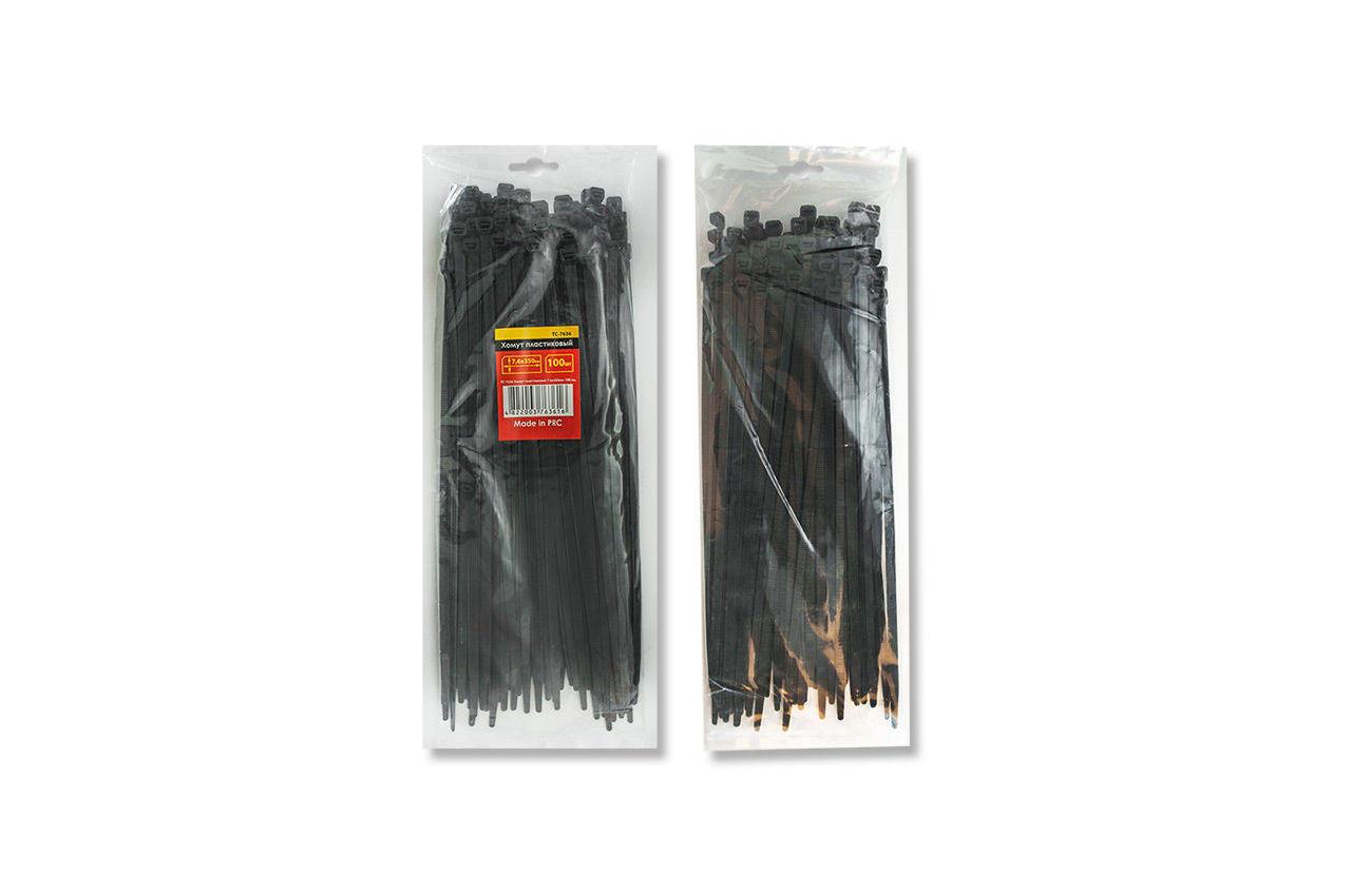 Хомут пластиковый Intertool - 7,6 х 350 мм, черный (100 шт.)