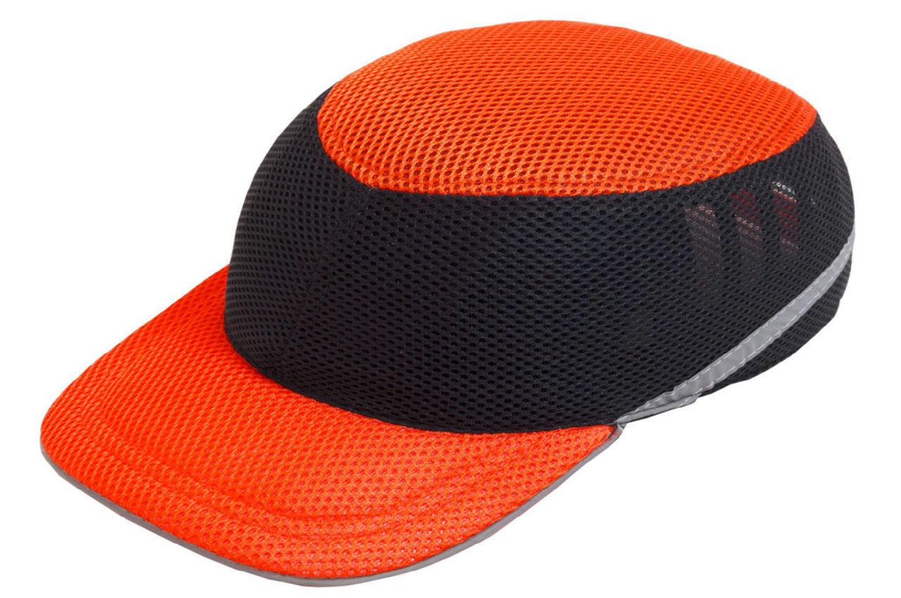 Каска-бейсболка ударопрочная Vita - оранжево-чёрная