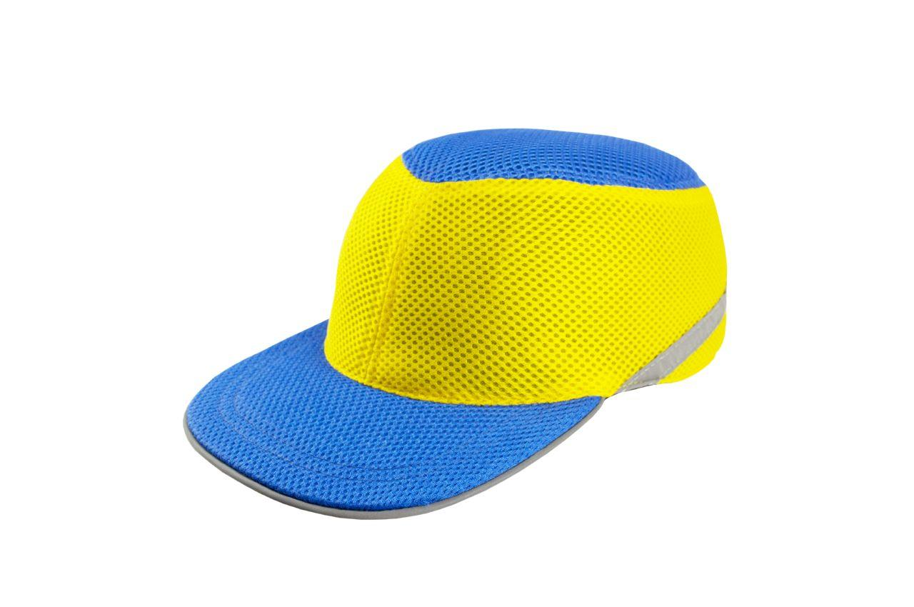 Каска-бейсболка ударопрочная Vita - сине-жёлтая