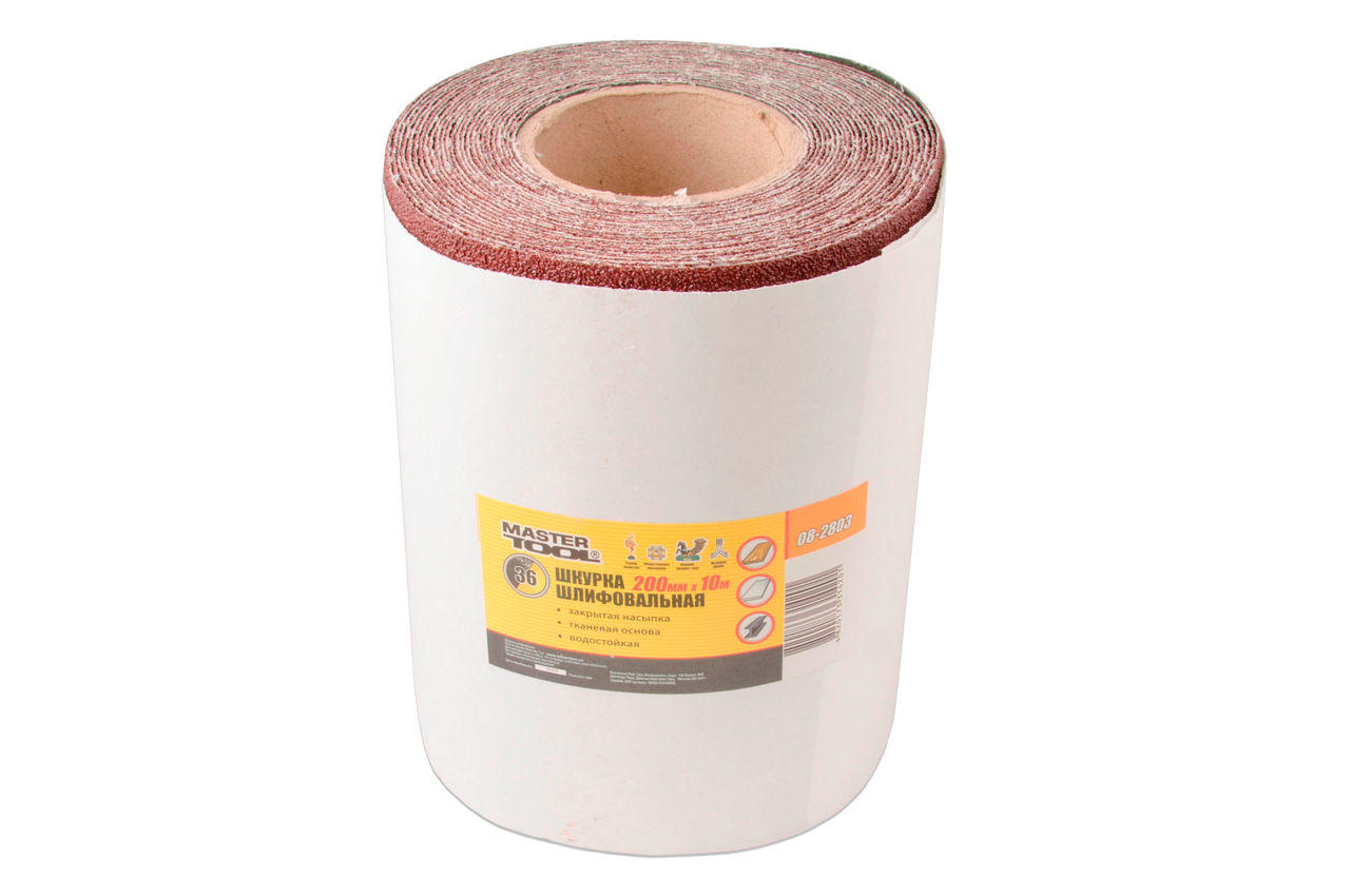 Шлифовальная шкурка Mastertool - 200 мм х 10 м, P60, ткань