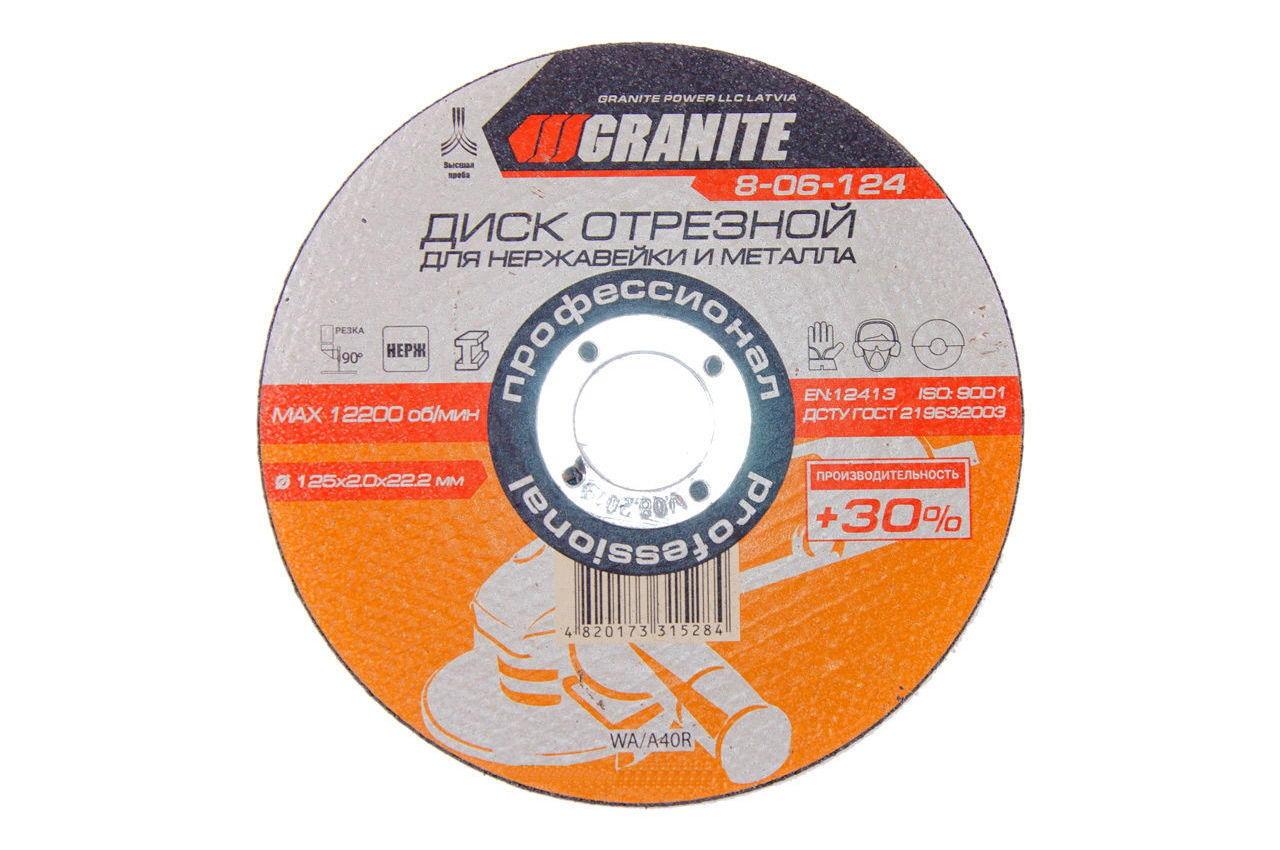 Круг отрезной по металлу Granite - 125 х 2,0 х 22,2 мм + 30%, 8-06-124