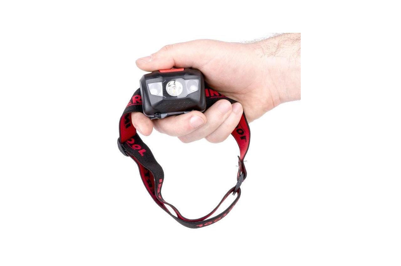 Фонарь налобный Intertool - 1 LED + 2 LED х 1 Вт