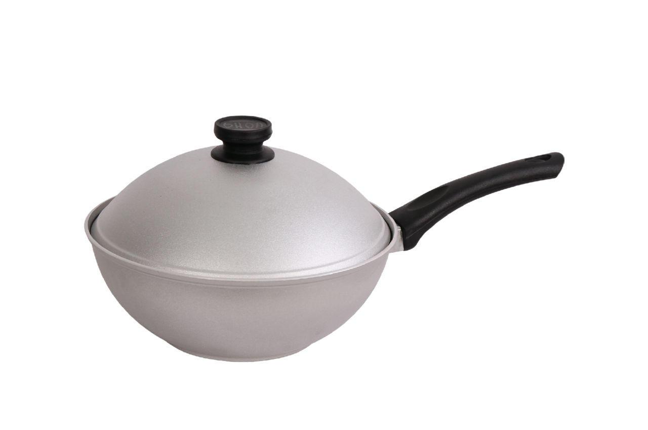 Сковорода алюминиевая Биол - 260 х 150 мм, с ровным дном и крышкой