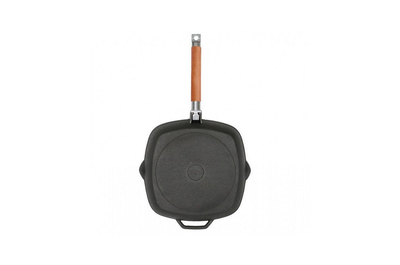 Сковорода-гриль чугунная Биол - 280 мм, с крышкой