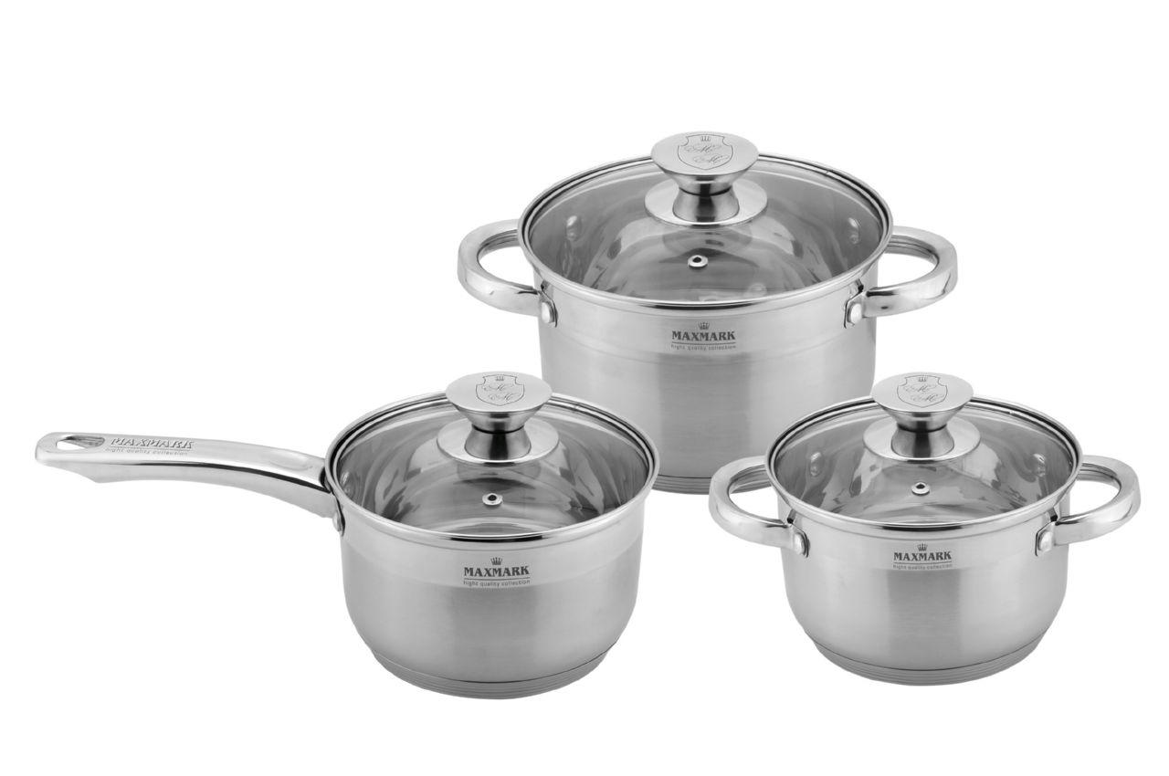 Набор посуды нержавеющий Maxmark - 3 шт. (1,9 х 3 л, + сотейник 1,9 л.) MK-3506E, MK-3506E