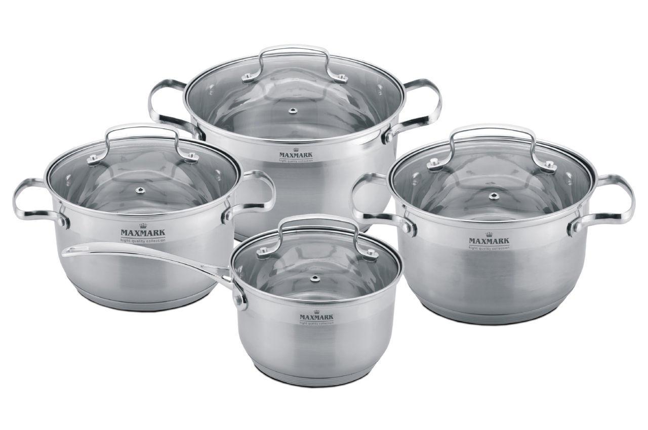 Набор посуды нержавеющий Maxmark - 4 шт. LUXE (3 х 3,8х6л,+сотейник1,9 л.) MK-3008, MK-3008