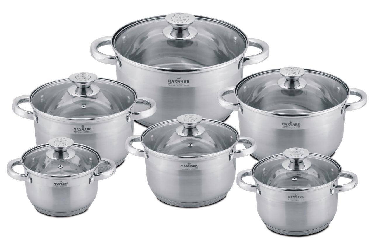 Набор посуды нержавеющий Maxmark - 6 шт. (1,9х3х3,8 х5 х6 х7л.) MK-3512B, MK-3512B