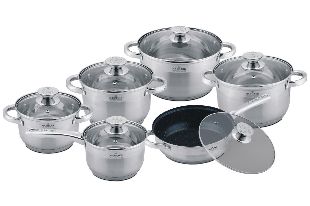 Набор посуды нержавеющий Maxmark - 6 шт.(1,9 х 3 х3,8 х6 л,+ сотейник1,9л,+сковорода 240 мм) MK-3512, MK-3512A