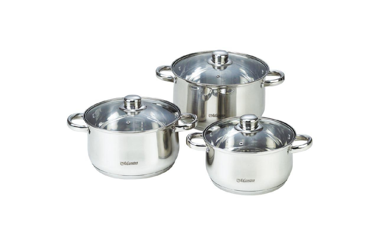 Набор посуды нержавеющий Maestro - 3 х 4 х 5 л, (3 шт.) MR-2020-6XL