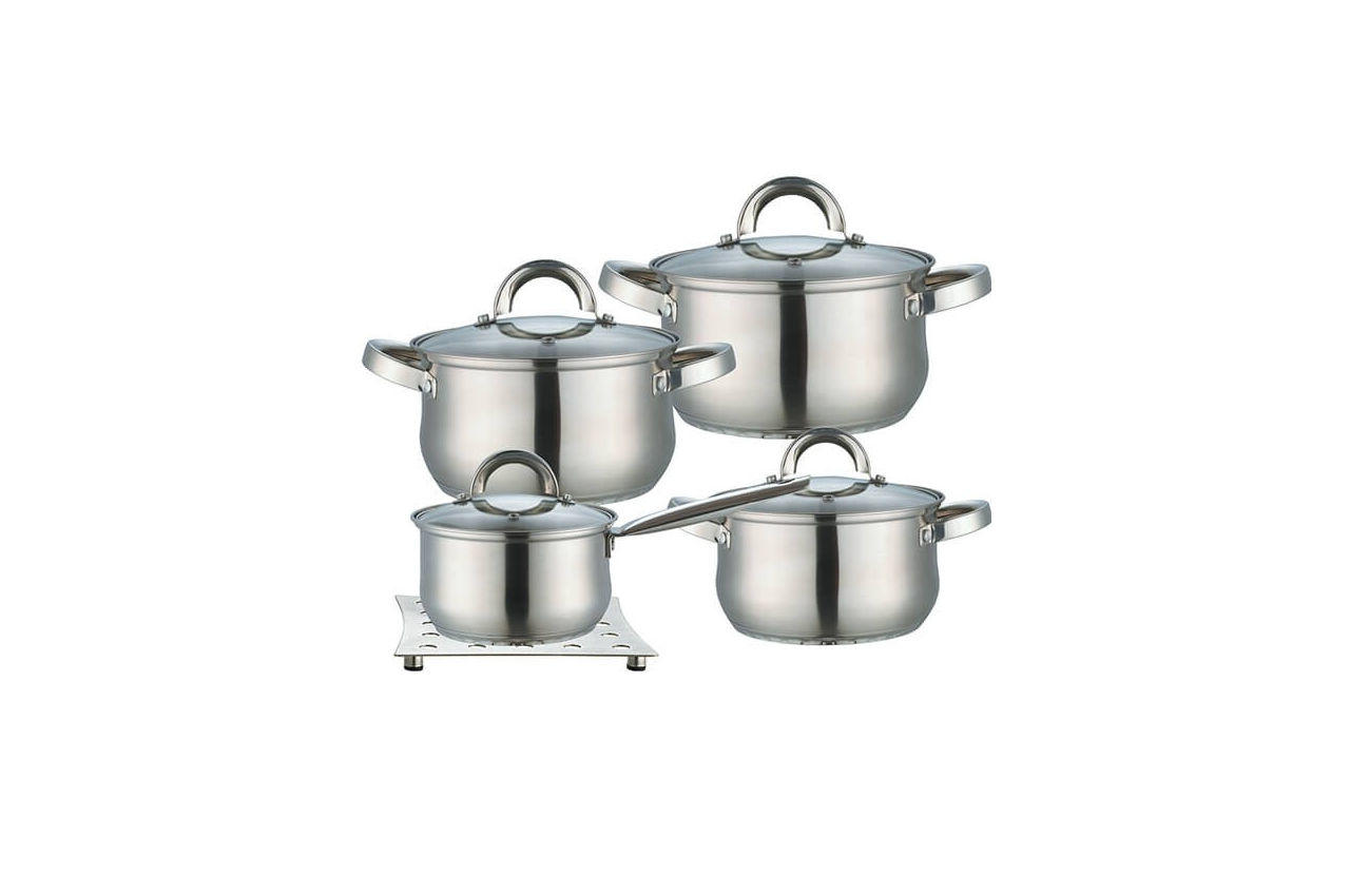Набор посуды нержавеющий Maestro - 2 х 3 х 4 л х 1,5 л + подставка (4 шт.) MR-2021