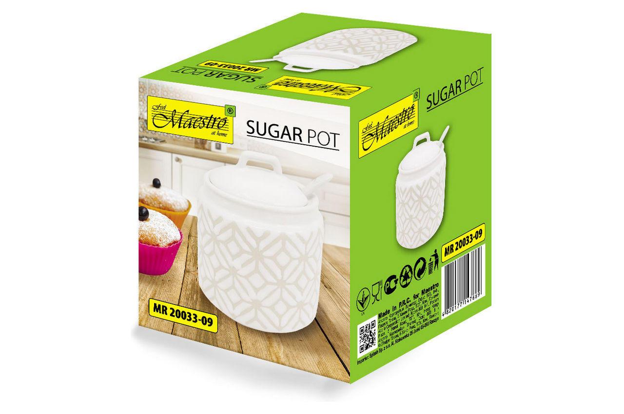 Сахарница с ложкой керамическая Maestro - 90 мм