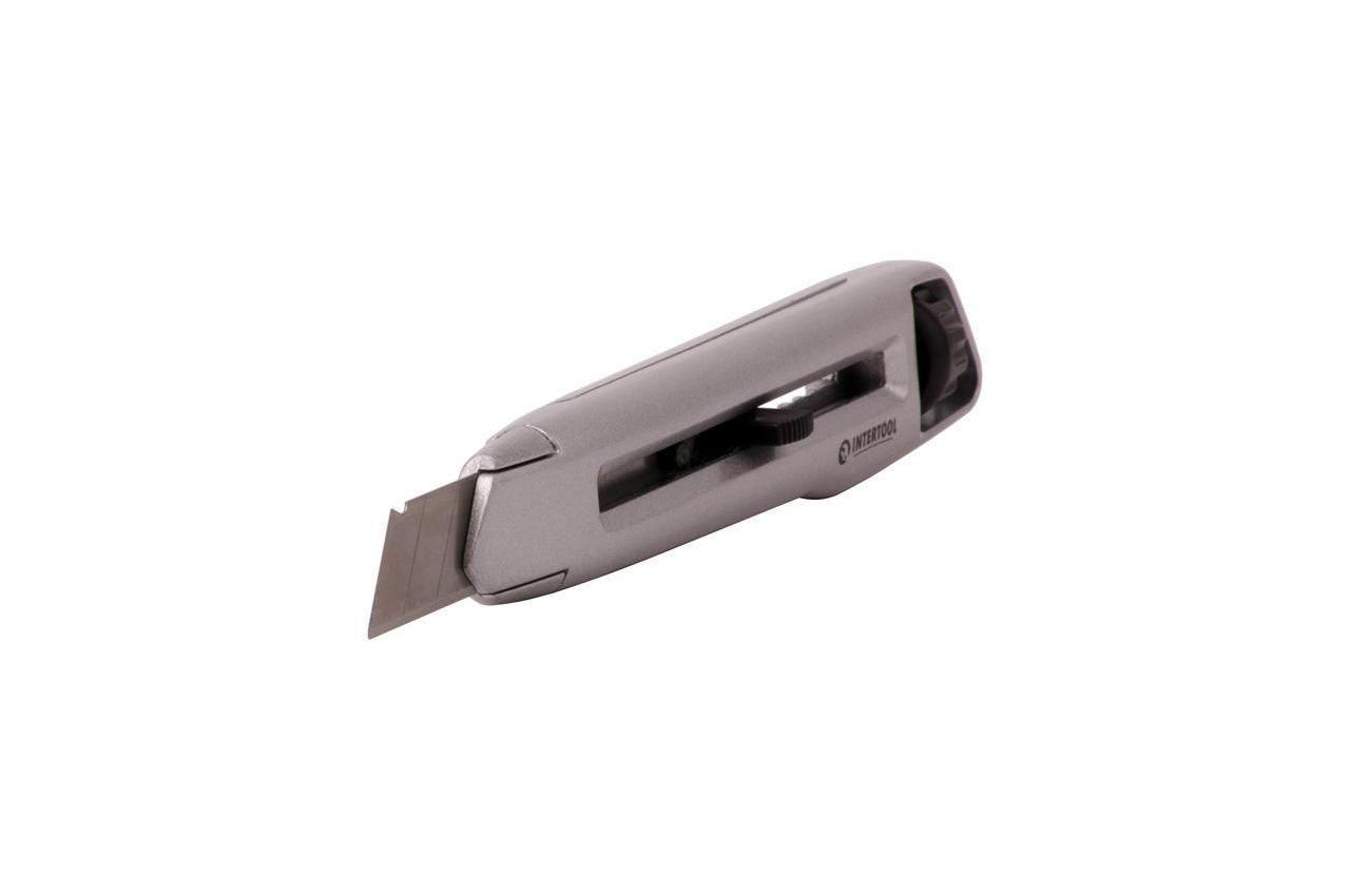 Нож Intertool - 18 мм двойной фиксатор, металлический