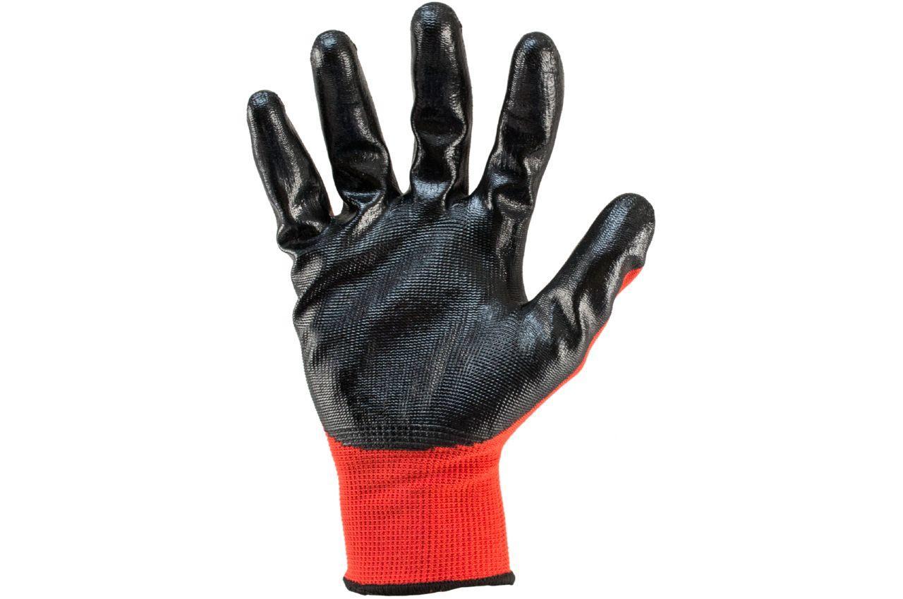 """Перчатки Сила - с нитриловым покрытием 10"""" (красно-черные) 12 шт."""